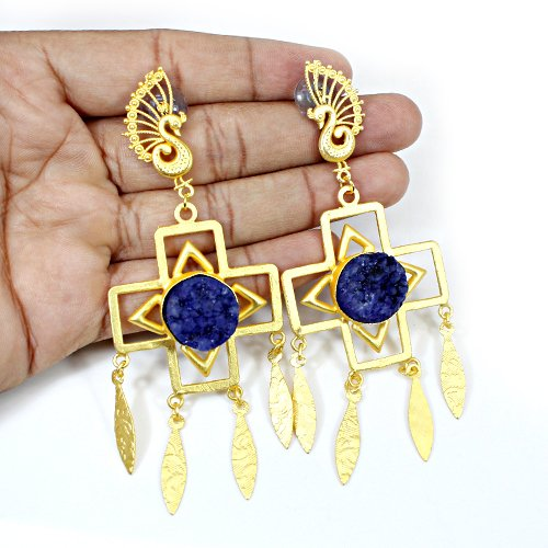 Trendy Collection Blue Druzy Gemstone Earring Vermeil Peacock Designer Earring Women Wedding Jewelry Mother's Day Gift Earring