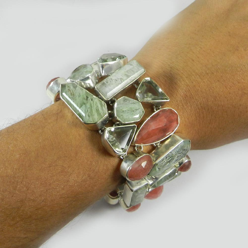 Trendy Collection Crackle Glass & Green Amethyst Bracelet Solid 925 Sterling Silver Bracelet Link Chain Bracelet Women Bohemian Stylish Bracelet Statement Bracelet