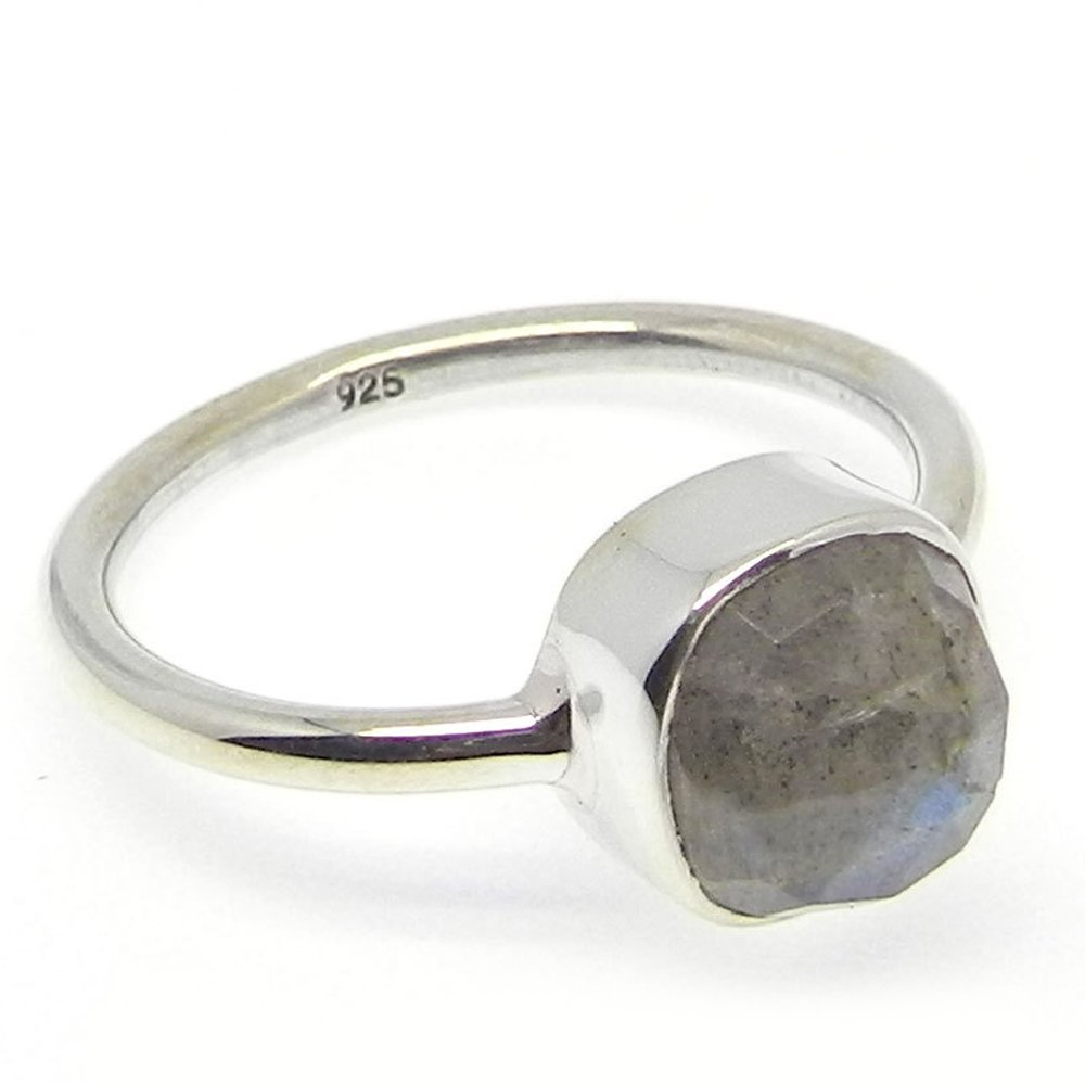Trendy Collection Genuine Blue Flashy Labradorite Gemstone Ring Solid 925 Sterling Silver Ring Lady's Statement Boho Ring