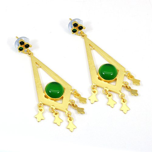 Trendy Collection Green Cat's Eye & Petrol Tourmaline Hydro Gemstone Earring Thanksgiving Earring Valentine Hanging Dangling