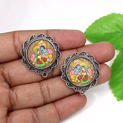 Trendy Collection Lord Radha Krishna Painting Earring Solid 925 Sterling Silver Earring Hindu Deity Temple Jewelry Women Stud