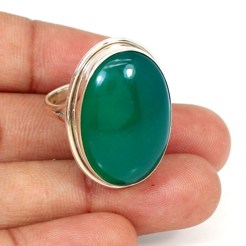 Trendy Collection Natural Green Onyx Gemstone Ring Solid 925 Sterling Silver Rings Mens Huge Rings Oval Cabochon Rings Boho Ring