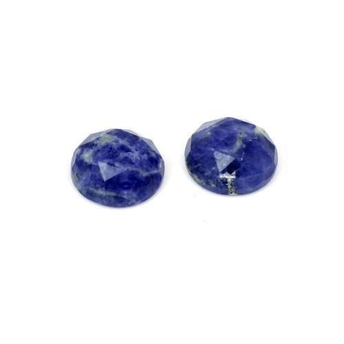 Trendy Collection Natural Sodalite Round Rose Cut 12mm 1 Pair 10.05 Cts Loose Gemstone