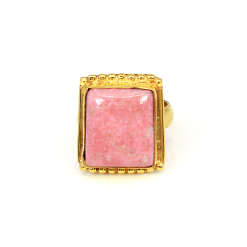 Trendy Collection Natural Thulite Gemstone Ring Brass Gold Plated Rings Cabochon Rings Unisex Statement Ring Gift For Him