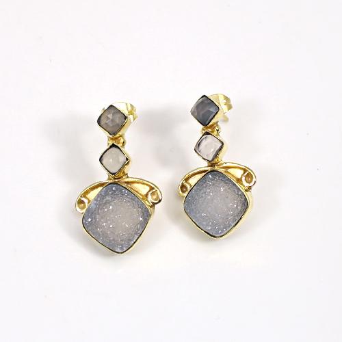 Trendy Designer Selling White Druzy & Rose Quartz Gemstone Earring Brass Gold Plated Stud Earring Women Vermeil Boho Earring