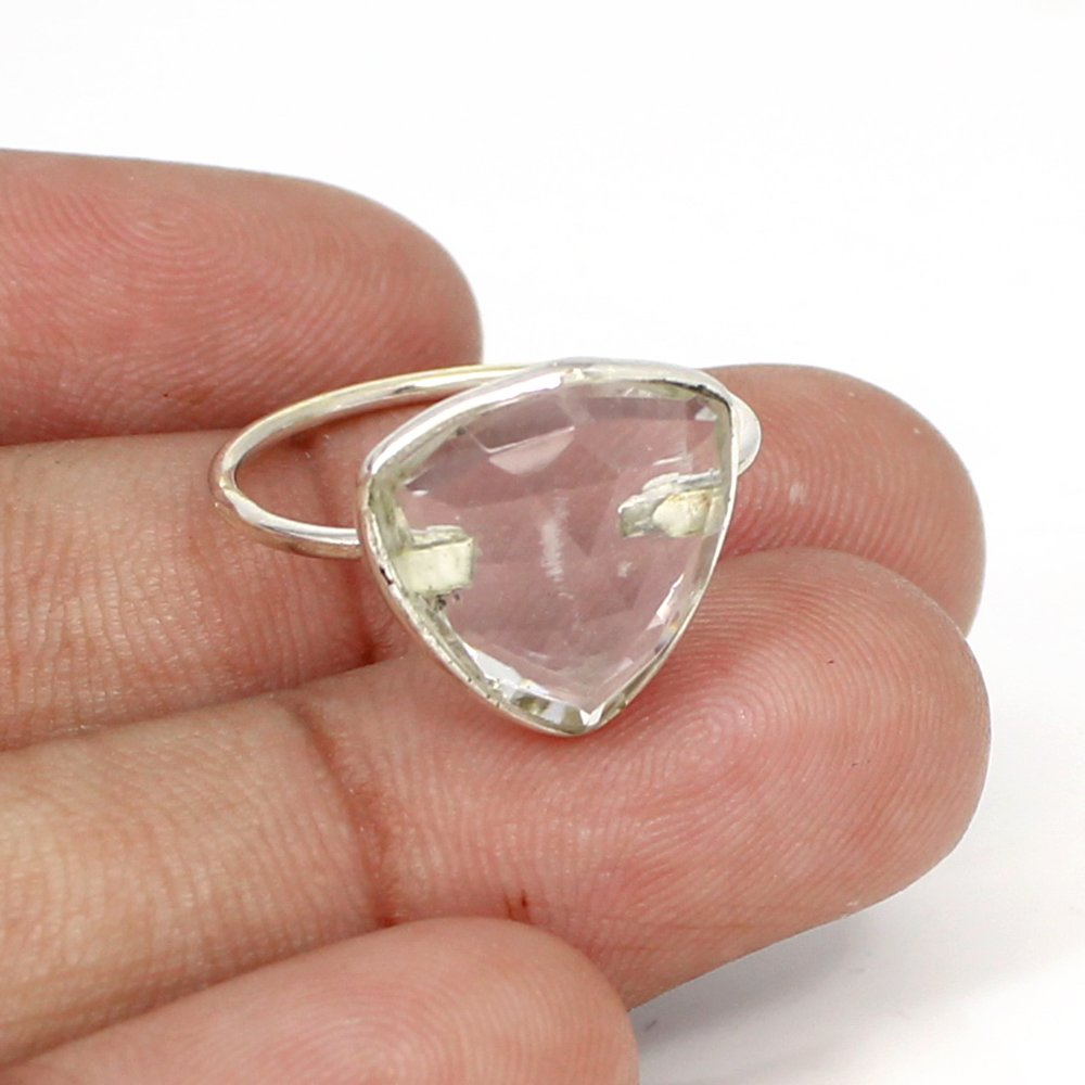 Trendy Selling Crystal Gemstone Ring Solid 925 Sterling Silver Ring Trillion Signature Ring Everyday Wear Rings Charm Rings