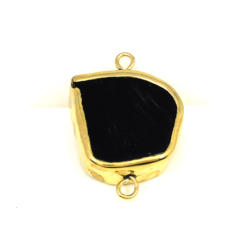 Trendy Selling Natural Black Onyx Gemstone Connector Brass Gold Plated Connector Double Loop Connector For Jewelry Making