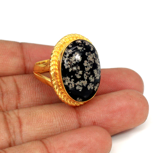 Trendy Selling Natural Fireworks Obsidian Gemstone Ring Oval Cabochon Ring Designer Yellow Gold Plated Rings Bohemian Mens Ring