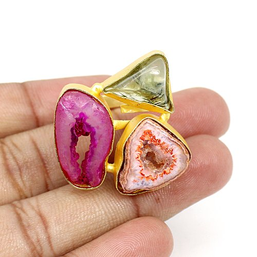 Trendy Selling Natural Multi Gemstone Ring Brass Gold Plated Adjustable Ring Huge Rings Solitaire Rings Anniversary Gift Ring