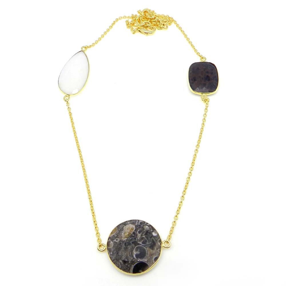 Turtella,Spider Web Jasper,White Agate Gold Plated 22 inch Long Chain Necklace