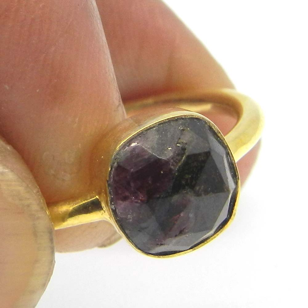 Unique Rustic Designer Ring Natural Eudialyte Gemstone Ring Solid 925 Sterling Silver Ring Dainty Ring Boho Handcrafted Vermeil Ring