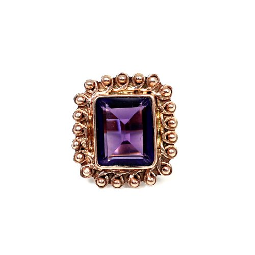 Unique Rustic Jewelry Collection Amethyst Hydro Gemstone Ring Brass Rose Gold Plated Ring Designer Wedding Engagement Ring