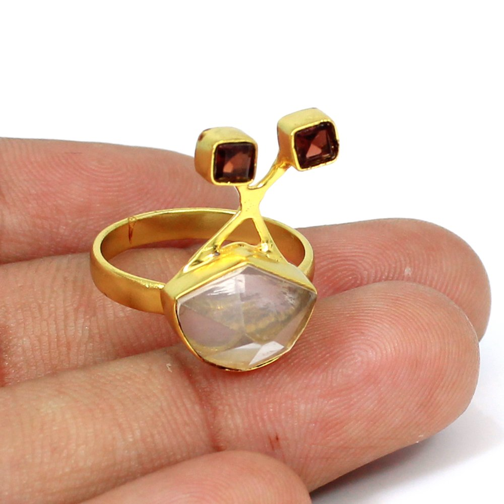 Unique Rustic Ring Rose Quartz Hydro & Garnet Gemstone Ring Brass Vermeil Jewelry Designer Women Wedding Ring Gift For Her