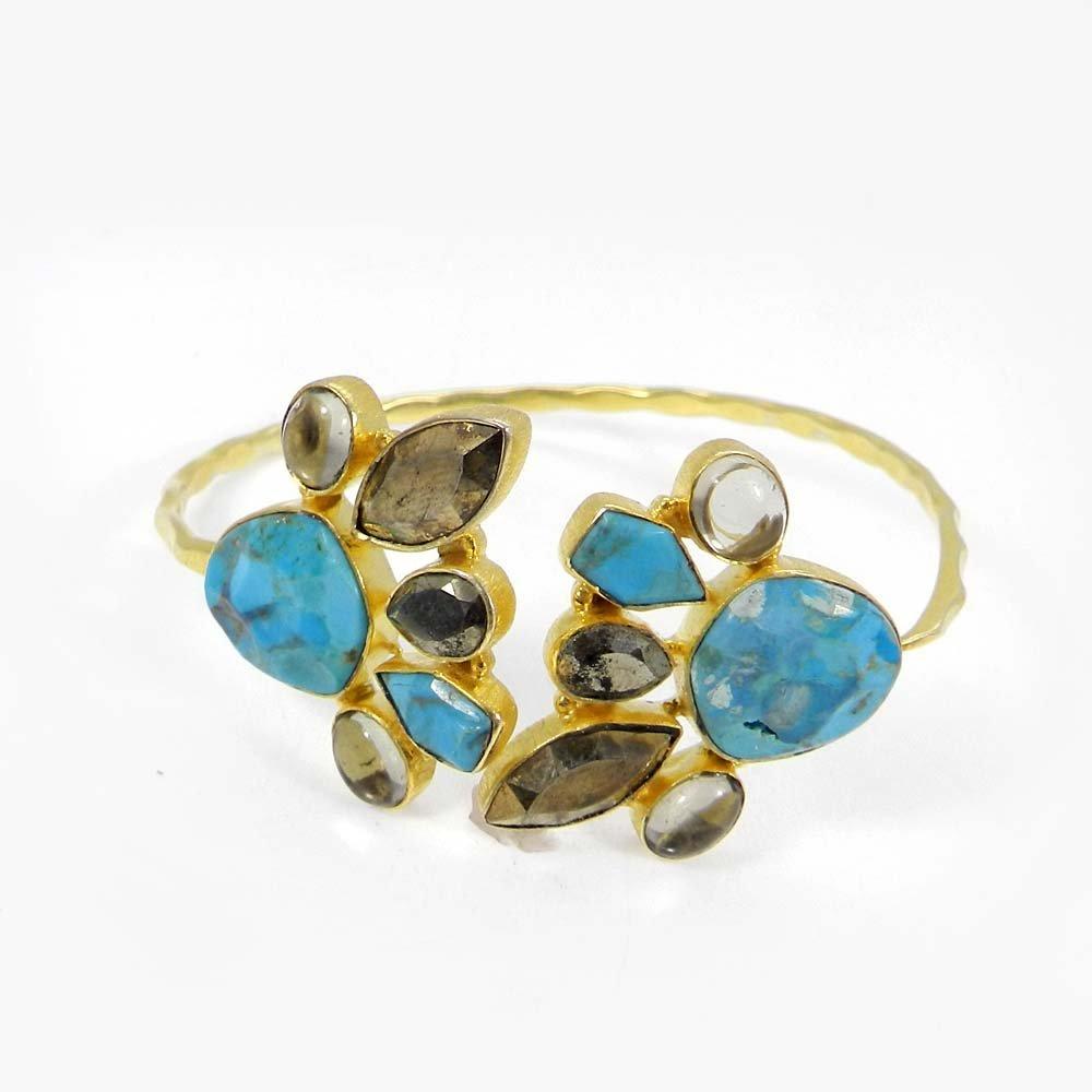 USA Turquoise,Pyrite,Doublet Gold Plated Hammered Adjustable Bracelet