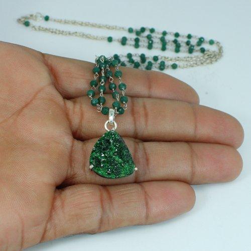 Uvarovite Garnet & Emerald Corundum Gemstone Necklace Sliver Layered Gemstone Pendant Necklace