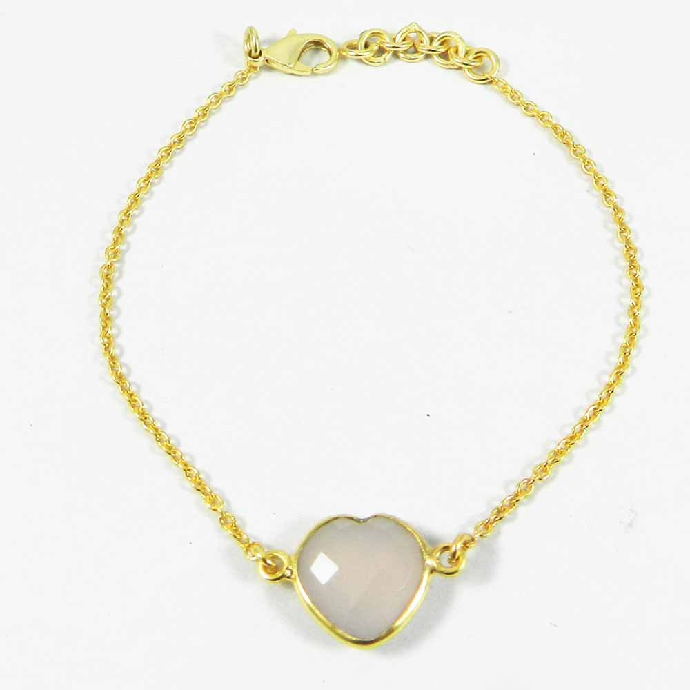 Valentines Jewelry Lavender Chalcedony Gold Plated Link Chain Bracelet