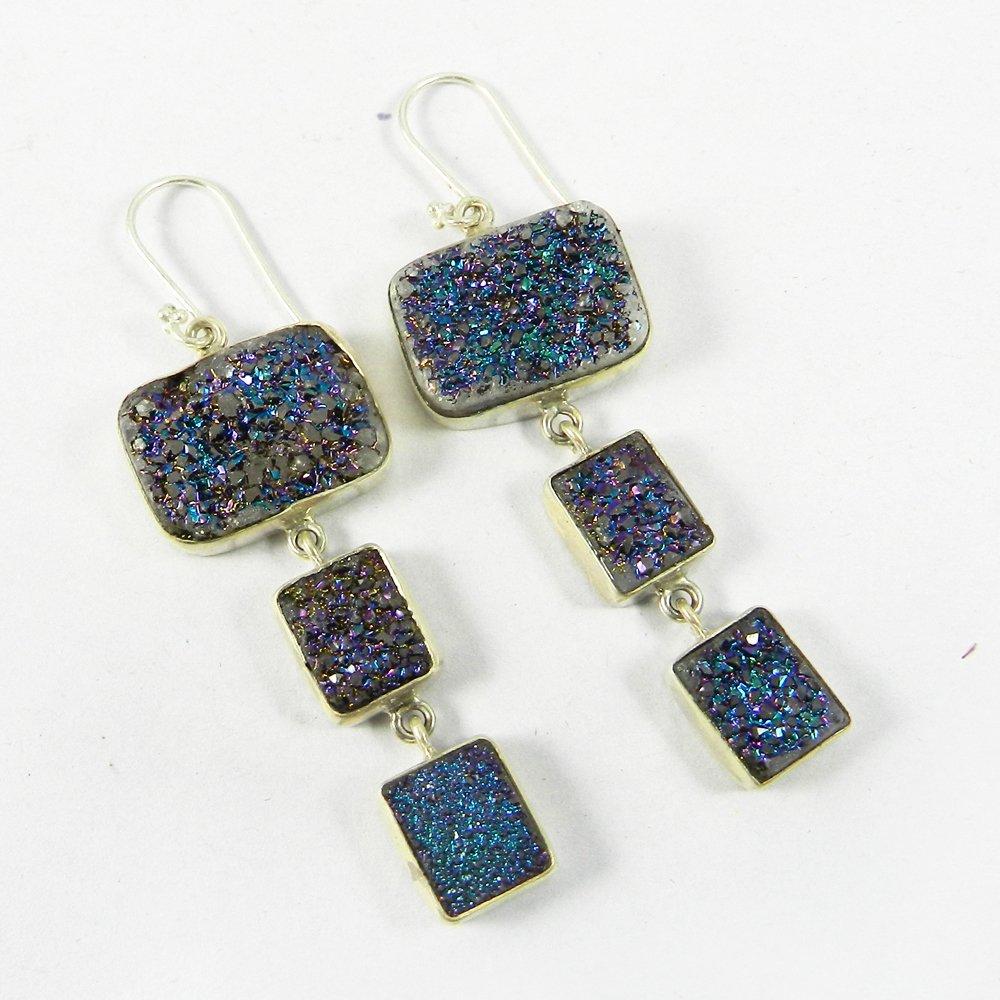 Vedika Titanium Cobalt Druzy Silver Bezel Dangle Earring