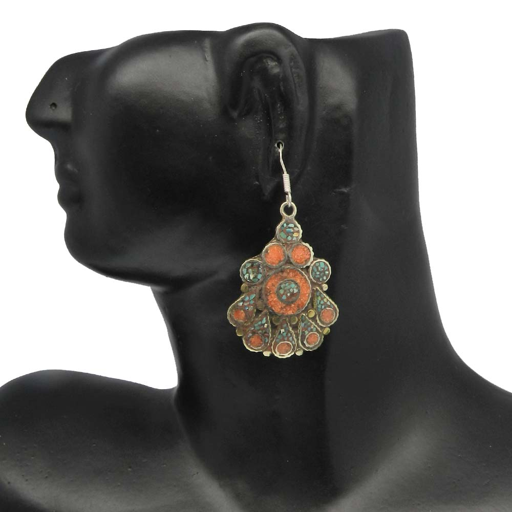 Vintage Designer Coral & Turquoise Inlay German Silver Dangle Earring