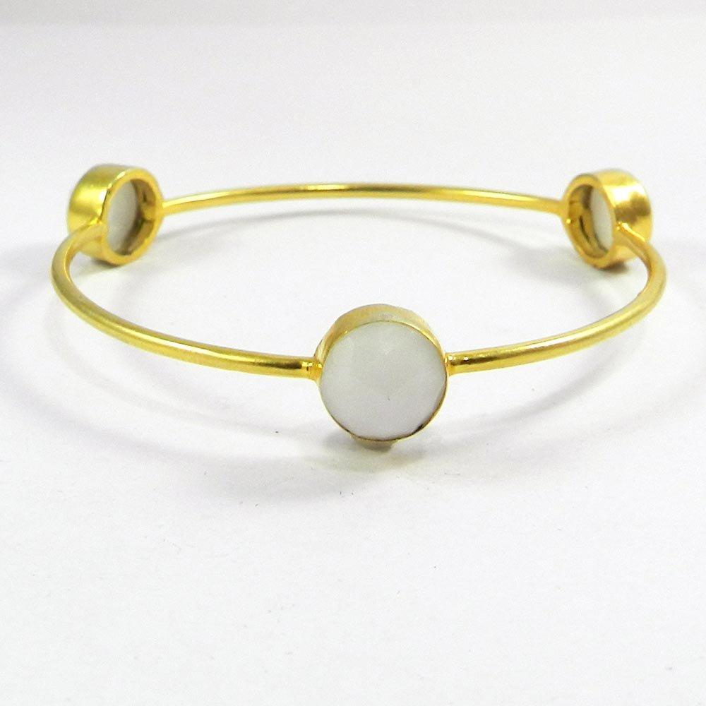 White Chalcedony Gemstone Gold Plated Designer Bezel Bangle