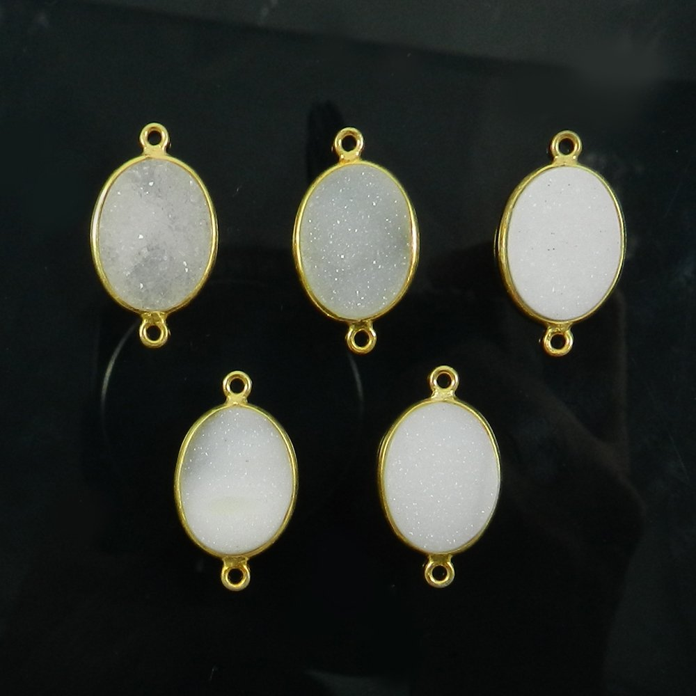 White Druzy Oval Shape 25x16mm 925 Sterling Silver Double Loop Connector