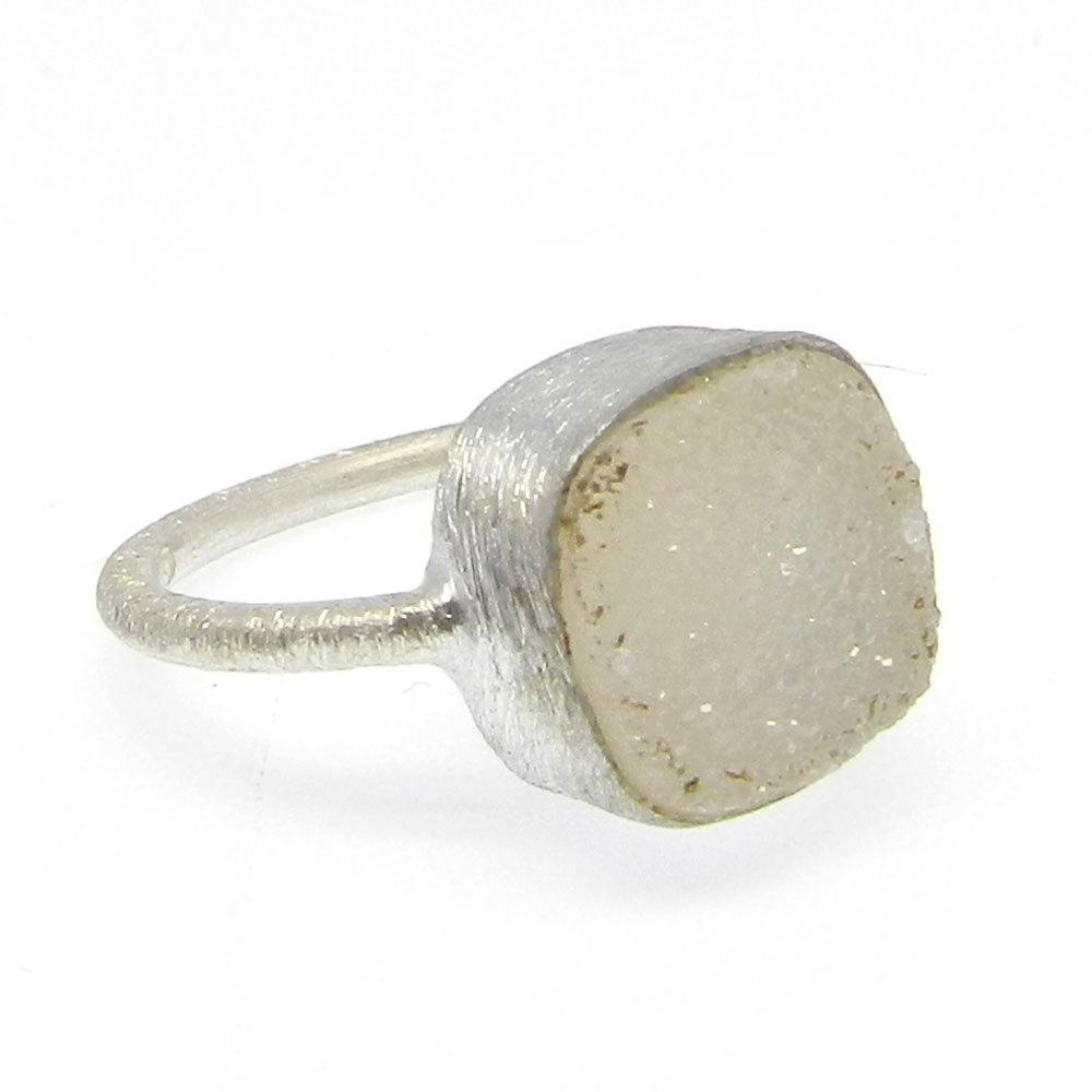 White Druzy Silver Matt Finish Designer Bezel Ring