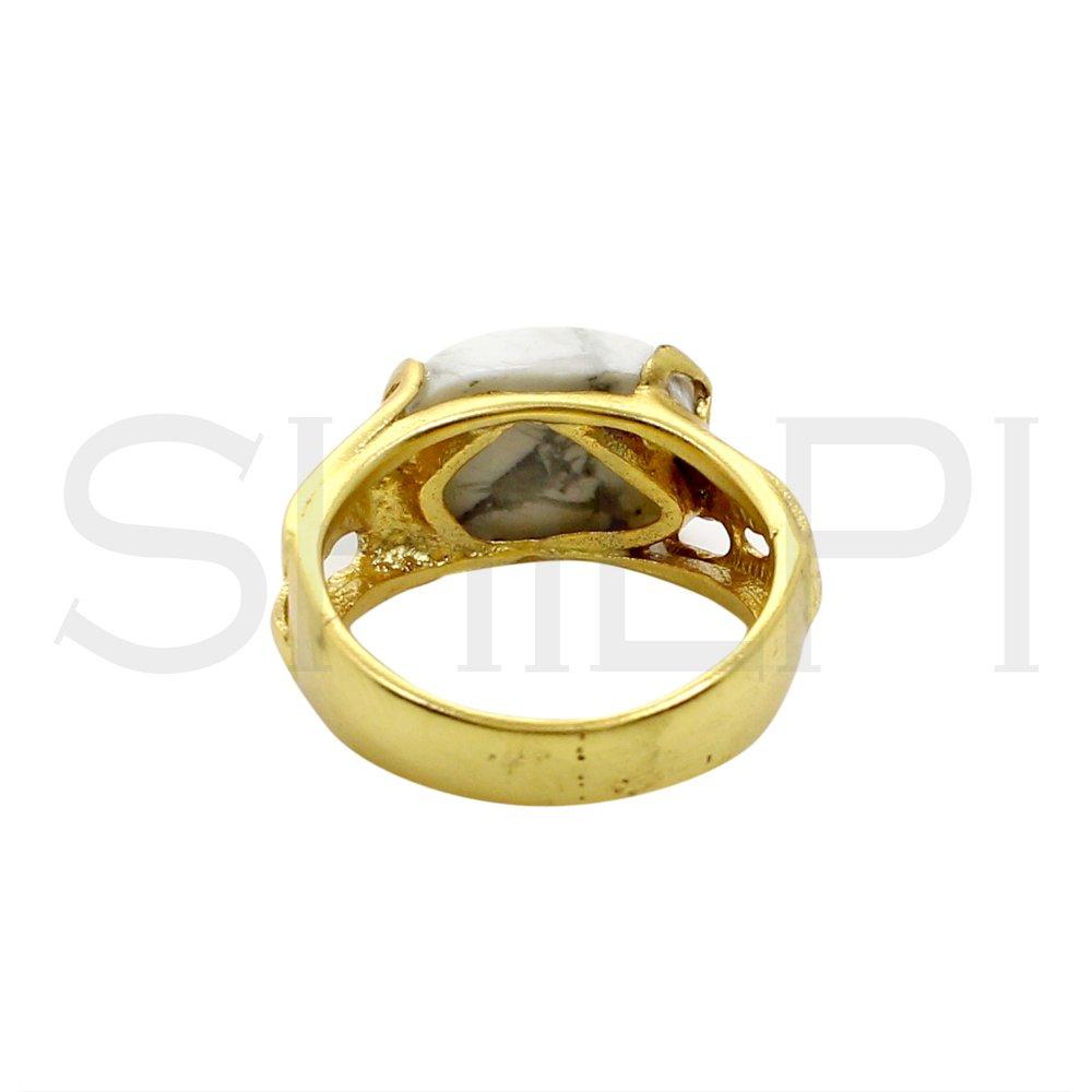 White Howlite Designer Gold Plated Engagement Ring