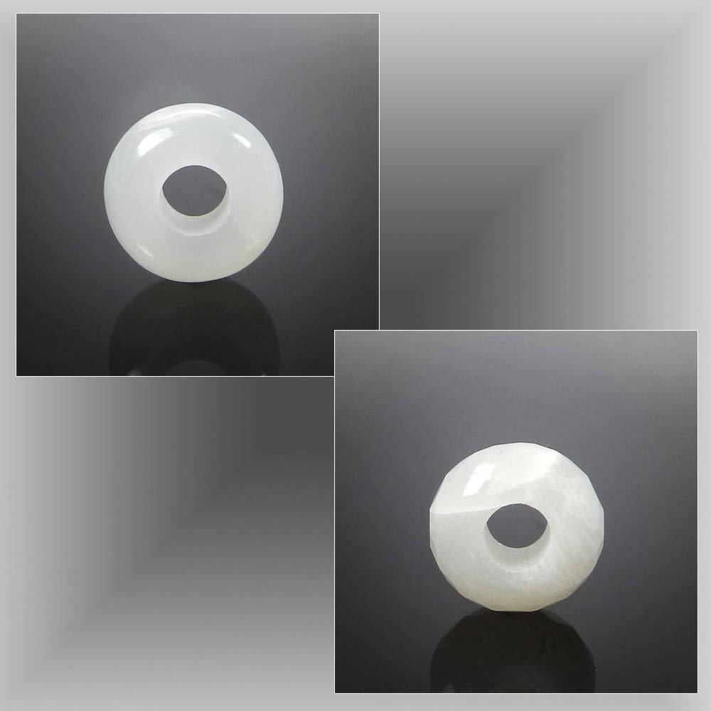 White moonstone big hole gemstone beads for bracelet making