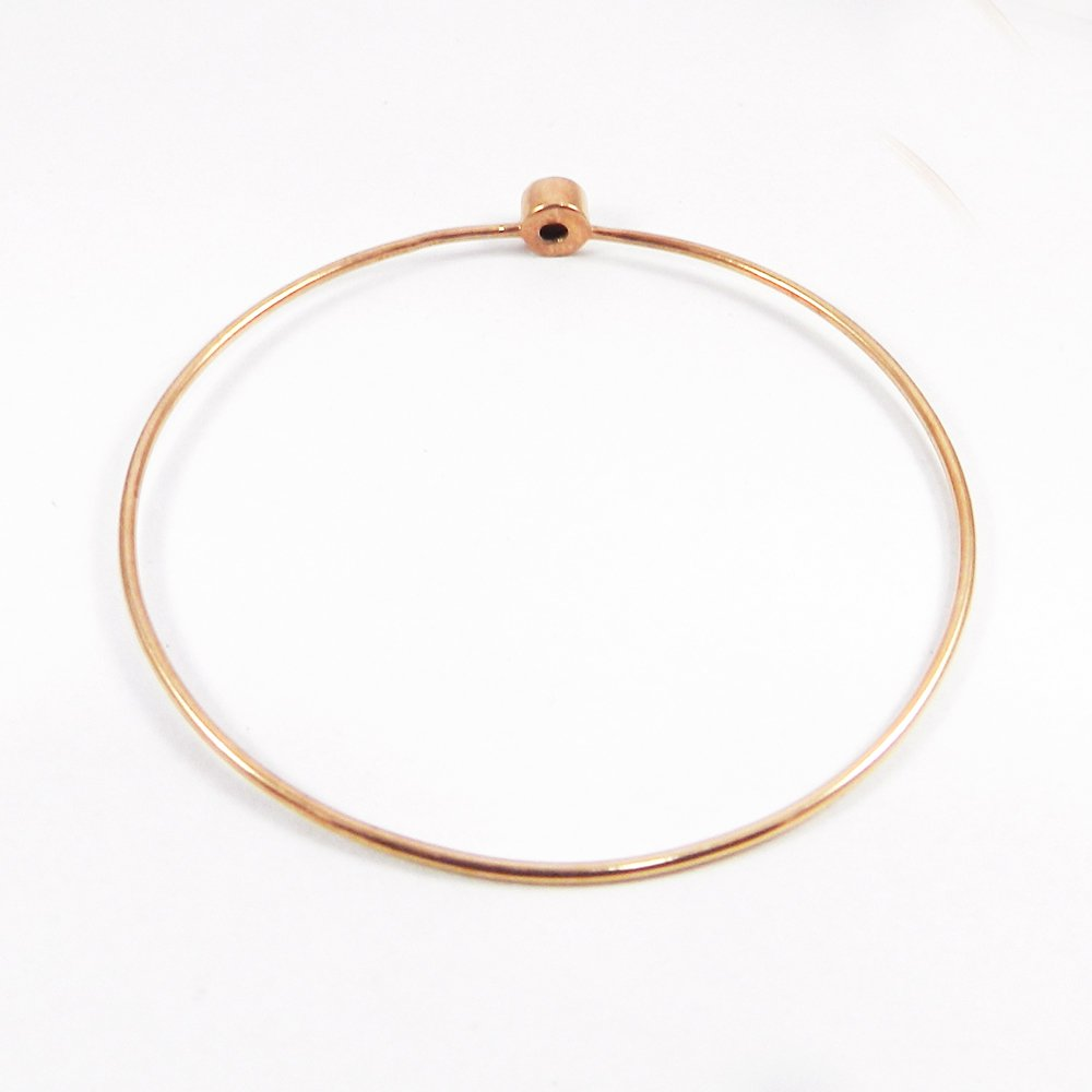 White Pearl Silver Rose Gold Plated Bezel Bangle