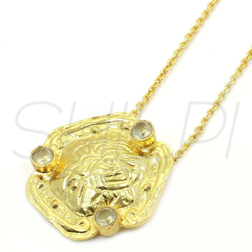 White Topaz Gold Plated Long Chain Handcrafted Pendant Necklace