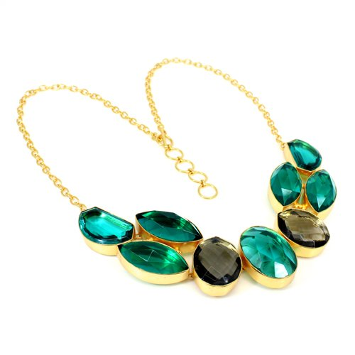 Wholesale Collection Apatite Hydro & Smoky Hydro Necklace Gold Plated Gemstone Necklace Wedding Necklace