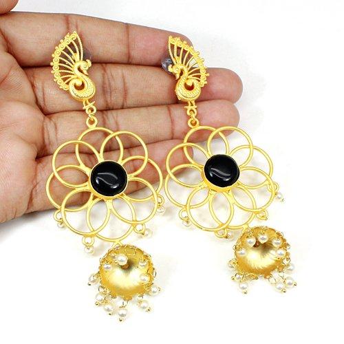 Wholesale Collection Black Onyx & Pearl Gemstone Earring Handmade Peacock Designer Earring Boho Hanging Dangling Wedding Gift