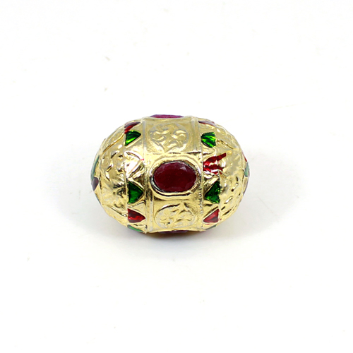 Wholesale Collection Dyed Ruby Corundum Beads Colored Metal Indian Beads Enameled Ethnic Handmade Beads