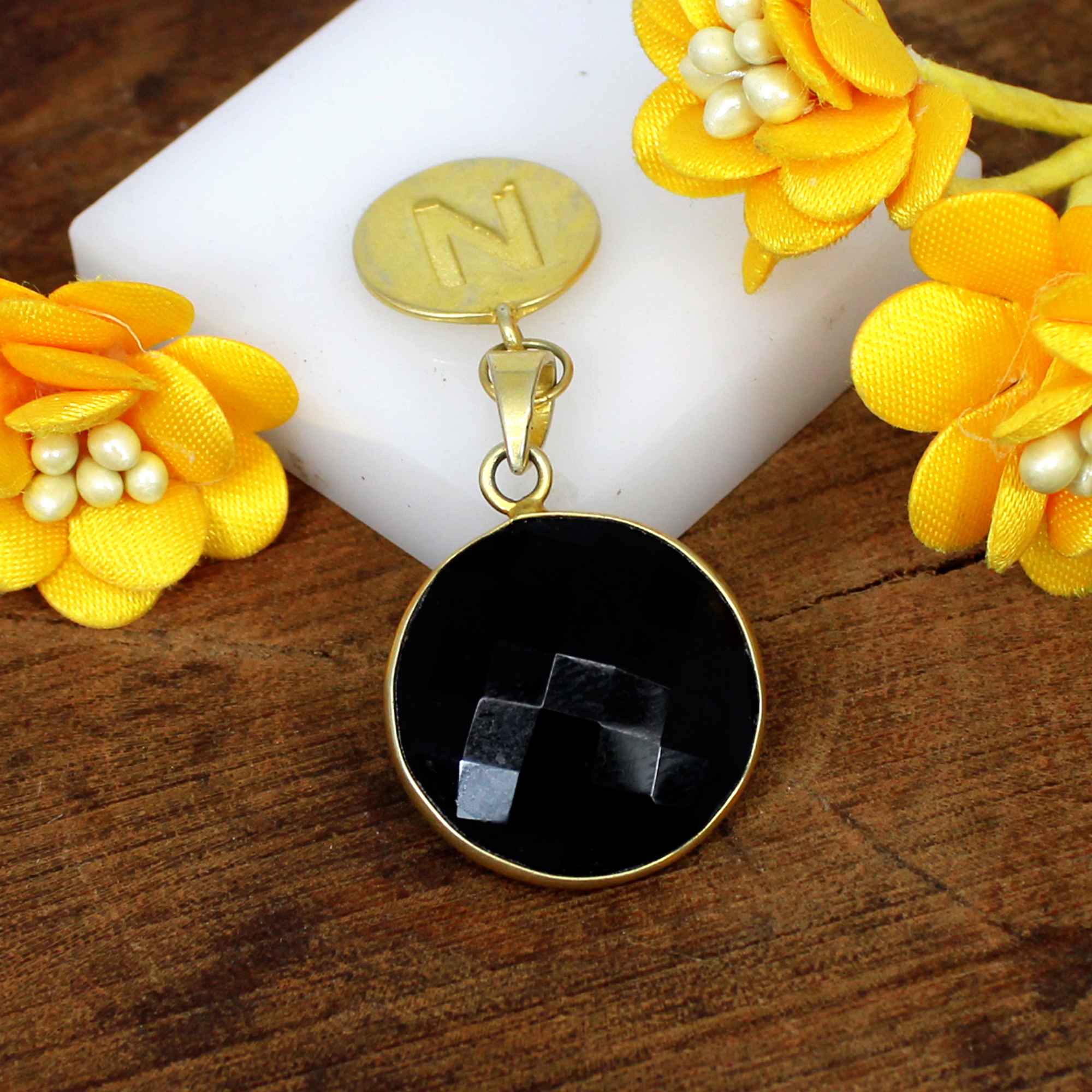 Wholesale Collection Natural Black Onyx Gemstone Pendant N Letter Personalized Pendant Brass Gold Plated Women Pendant For Her