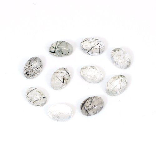 Wholesale Collection Natural Black Rutile 7x5mm Oval Cabochon 34 Pcs Lot 39 Cts Loose Gemstone