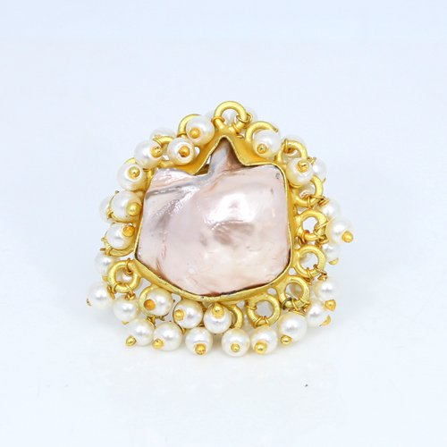 Wholesale Collection Natural Pink Baroque Pearl & Tiny Pearl Ring Designer Adjustable Vermeil Rings Ethnic Wedding Ring