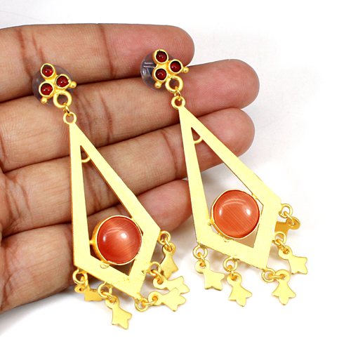 Wholesale Collection Orange Cat's Eye & Red Onyx Gemstone Earring Classic Designer Earring Wedding Hanging Dangling Gift For Her