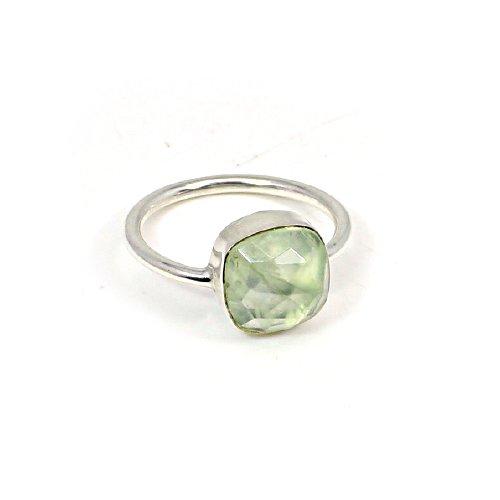 Wholesale Designer Selling Natural Prehnite Gemstone Ring Solid 925 Sterling Silver Ring Bohemian Ring Unisex Statement Ring