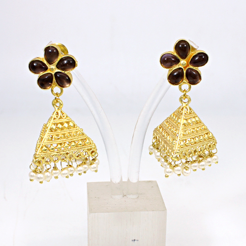 Wholesale Earring Pink Amethyst Hydro & Pearl Jhumkas Gold Plated Heavy Hanging Dangling Women Wedding Engagement Earring