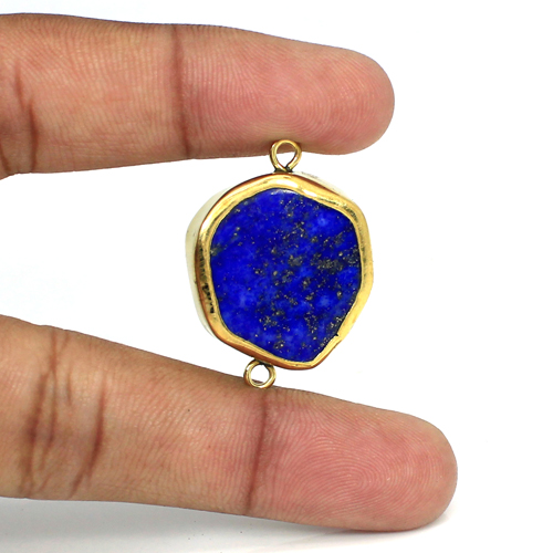 Wholesale Natural Lapis Lazuli Gemstone Connector Brass Gold Plated Connector Double Loop Connector For Jewelry Making