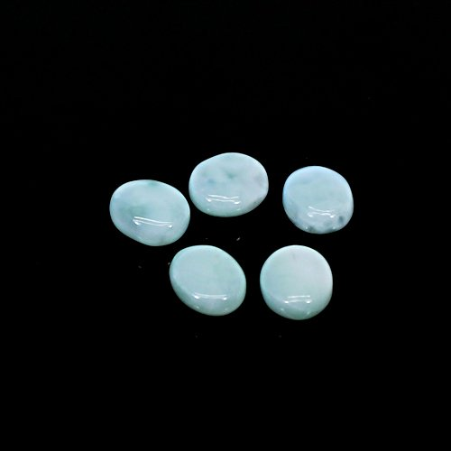 Wholesale Natural Larimar Oval Cabochon 5 Pcs Lot 6.75 Cts 7x6 mm Loose Gemstone For Jewelry Making