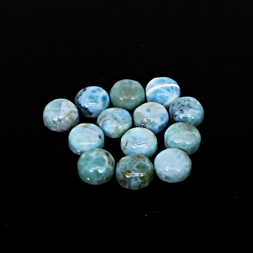 Wholesale Natural Larimar Round Cabochon 13 Pcs Lot 8mm 31.75 Cts Loose Gemstone For Jewelry Making