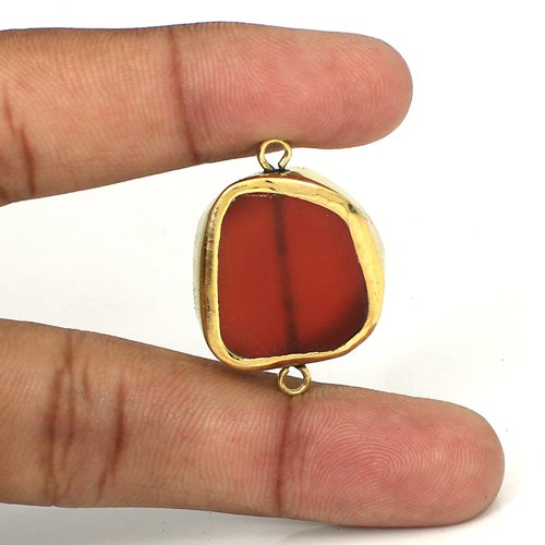 Wholesale Natural Red Onyx Gemstone Connector Brass Gold Plated Connector Double Loop Connector For Jewelry Making