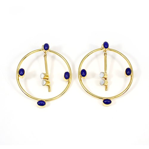 Wholesale Newest Design Roundel Earring Natural Lapis Lazuli & Mother Of Pearl Gemstone Hanging Dangling Women Engagement Drops