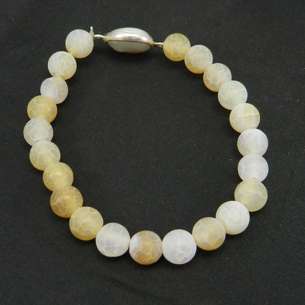 Yellow Frosted & Pearl Beads 925 Sterling Silver Stretchable Bracelet