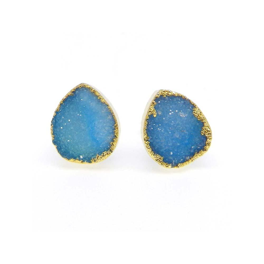 Zabana Blue Druzy Pear Electroplated Gold Studs Earring