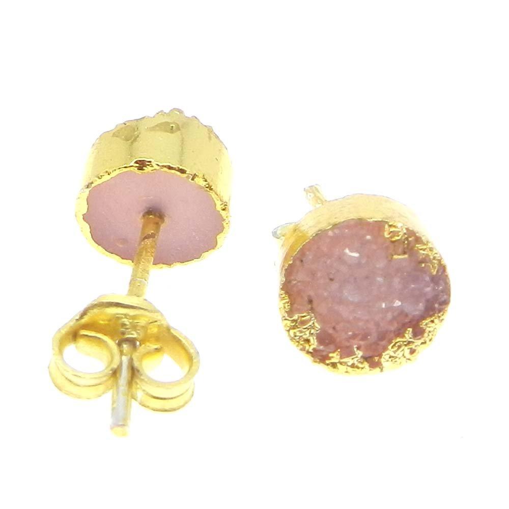 Zabana Pink Druzy Electroplated Gold Studs Earring