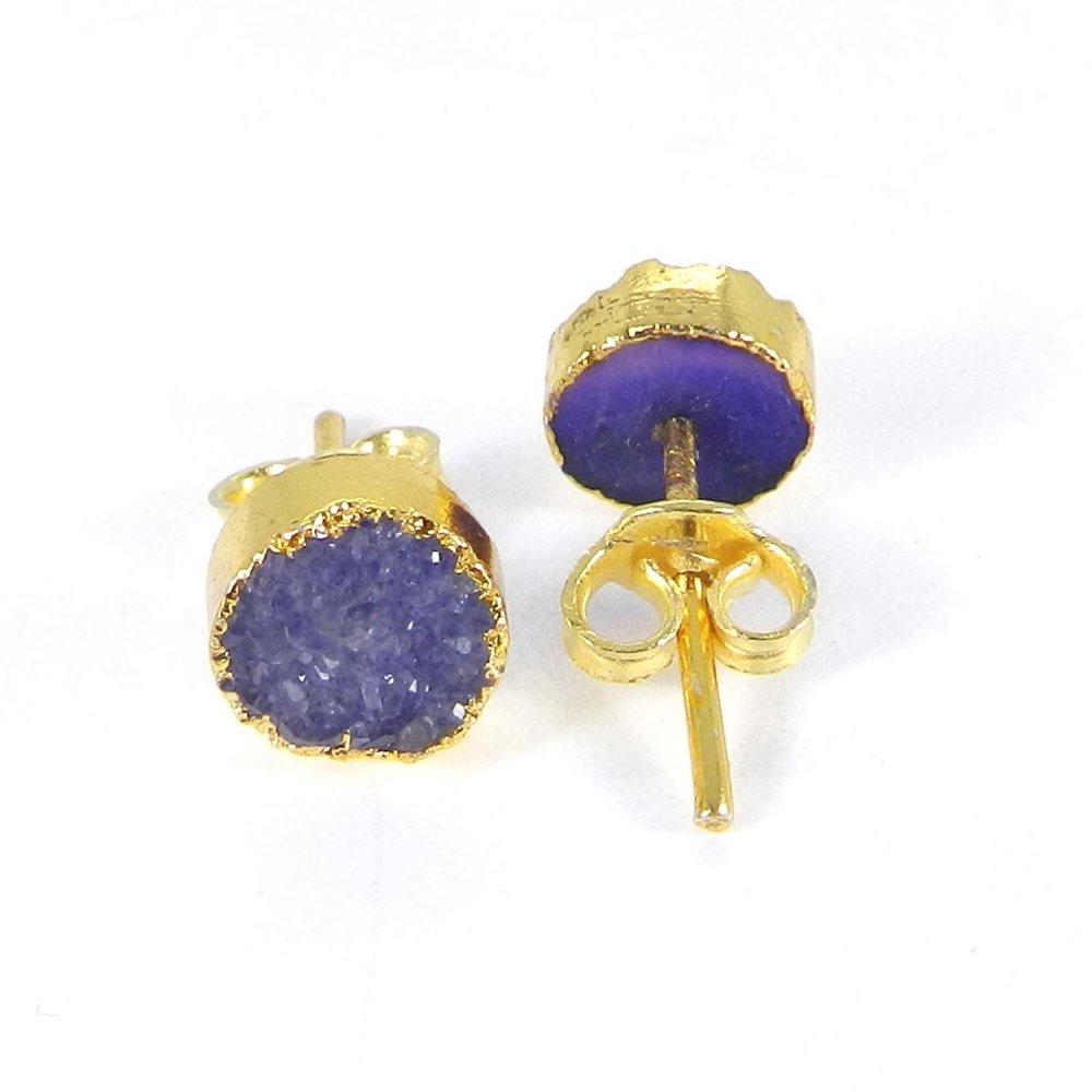 Zabana Purple Druzy Round Electroplated Gold Studs Earring