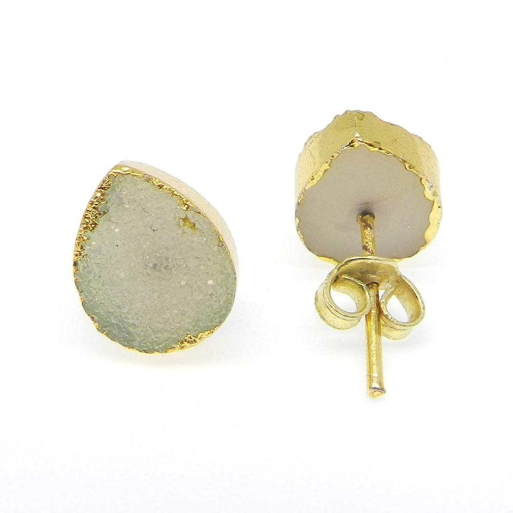 Zabana White Druzy Electroplated Gold Studs Earring