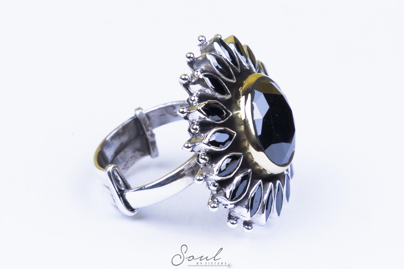 Black Onyx Flower Ring