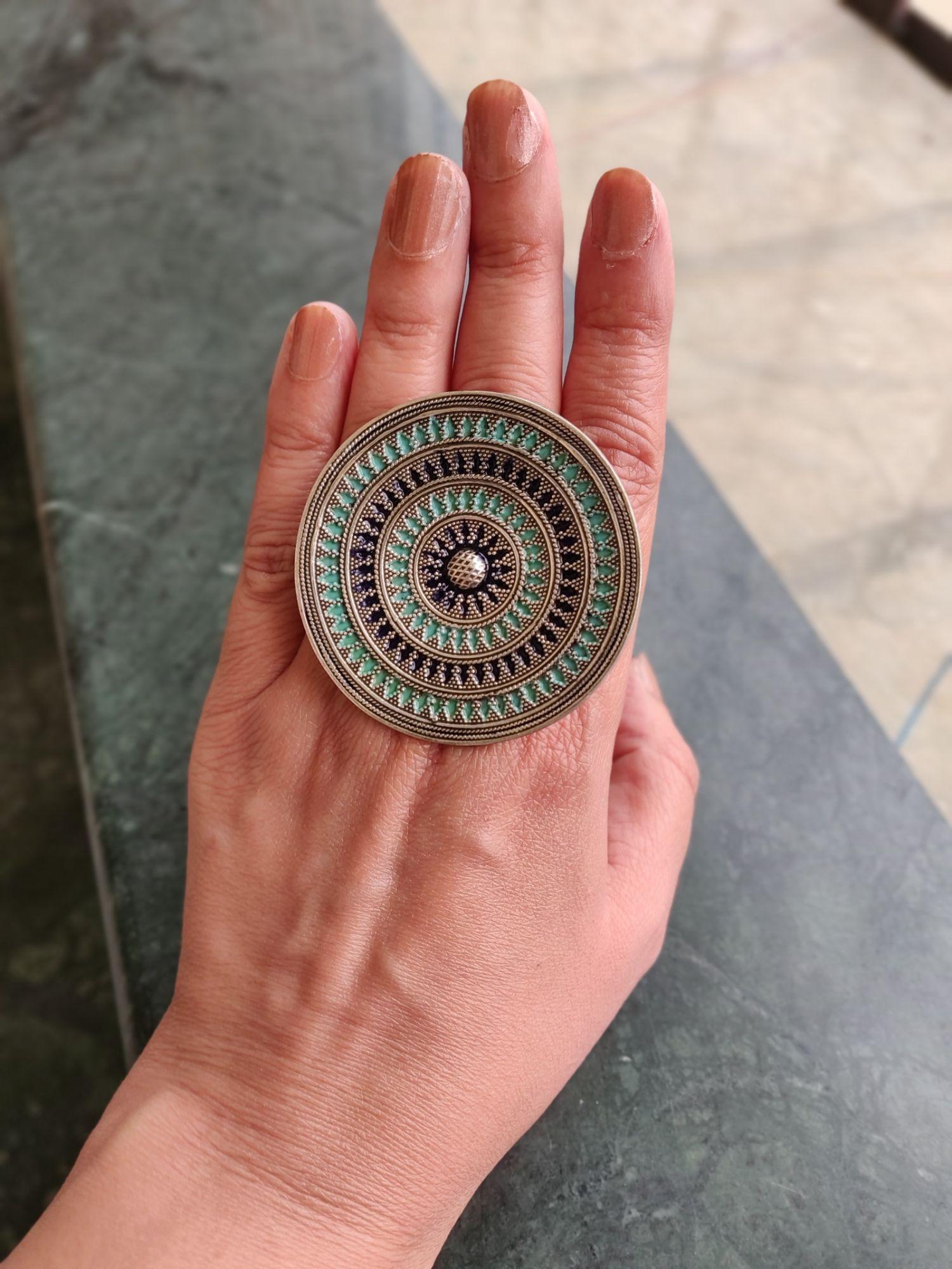 Blue Enameled Silver Ring